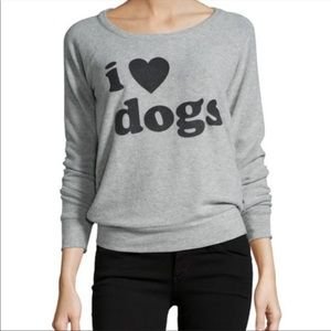Chaser I Love Dogs Graphic Back Cutout Sweatshirt